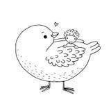 逗人喜爱的动画片婴孩和大鸟 免版税库存照片