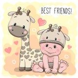 逗人喜爱的动画片婴孩和长颈鹿 免版税库存照片