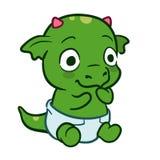 逗人喜爱的动画片婴孩龙妖怪 图库摄影
