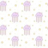 逗人喜爱的动画片水母无缝的样式背景例证 皇族释放例证