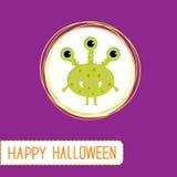 逗人喜爱的动画片绿色妖怪。紫罗兰色背景。愉快的万圣夜c 图库摄影