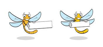 逗人喜爱的动画片蜻蜓字符 皇族释放例证