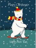 逗人喜爱的动画片滑雪的北极熊 库存照片