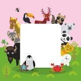 逗人喜爱的动画片动物设置了toucan鹿浣熊马狼北美野牛企鹅海星螃蟹封印豹子熊猫北极熊,框架,卡片des 免版税库存图片