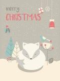 逗人喜爱的北极圣诞节困小狐狸围拢与花卉12月 免版税库存照片