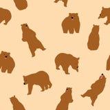 逗人喜爱的北美灰熊无缝的样式 库存例证