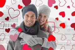 逗人喜爱的华伦泰夫妇的综合图象 免版税库存照片