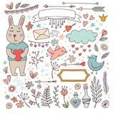 逗人喜爱的华伦泰设置了-滑稽的兔宝宝和乱画 免版税图库摄影