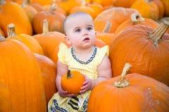 逗人喜爱的南瓜补丁婴孩 图库摄影