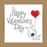 逗人喜爱的卡片为与滑稽的狗的情人节 免版税库存照片