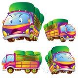 逗人喜爱的卡车动画片许多行动 库存照片