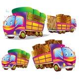 逗人喜爱的卡车动画片许多行动 免版税库存图片