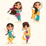 逗人喜爱的印地安孩子,传统印地安衣裳的女孩设置了,汇集 免版税库存图片