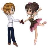逗人喜爱的印度桃花心木桃红色罗斯芭蕾双人舞 免版税库存图片