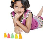 逗人喜爱的印第安女孩子项。 免版税库存照片