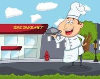 逗人喜爱的厨师动画片 库存图片