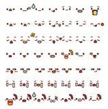 逗人喜爱的可爱的意思号emoji乱画动画片面孔的汇集, s 免版税库存图片