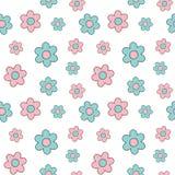 逗人喜爱的可爱的桃红色和蓝色动画片雏菊开花无缝的背景例证 免版税库存图片