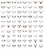 逗人喜爱的可爱的kawaii眼睛和嘴的汇集 乱画在manga样式的动画片面孔 逗人喜爱的意思号emoji字符 皇族释放例证