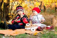 逗人喜爱的吃百吉卷的小女孩和男孩在秋天公园 免版税库存图片