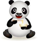 逗人喜爱的吃面条熊猫 库存照片