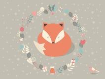 逗人喜爱的困圣诞节狐狸围拢与花卉装饰 免版税库存照片