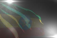 逗人喜爱的国庆节旗子3d例证-埃塞俄比亚旗子的数字图片挥动做了的小点在灰色与空的地方为 库存例证