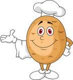 逗人喜爱的土豆厨师漫画人物 库存图片