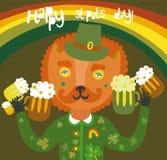 逗人喜爱的圣帕特里克的与猫的日背景 免版税库存照片