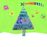 逗人喜爱的圣诞树,贺卡 免版税库存图片