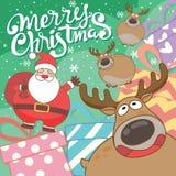 逗人喜爱的圣诞老人和驯鹿漫画人物 皇族释放例证