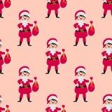 逗人喜爱的圣诞老人哄骗佩带的圣诞节服装传染媒介字符小精灵无缝的样式快乐的儿童假日 库存例证