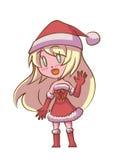 逗人喜爱的圣诞老人女孩 免版税库存照片