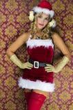 逗人喜爱的圣诞老人妇女 库存图片