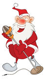 逗人喜爱的圣诞老人的例证歌手 背景漫画人物厚颜无耻的逗人喜爱的狗愉快的题头查出微笑白色 免版税库存图片