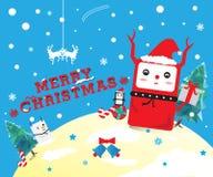 逗人喜爱的圣诞节动画片 库存照片