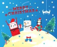 逗人喜爱的圣诞节动画片 免版税库存图片