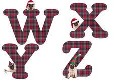 逗人喜爱的圣诞节哈巴狗小狗字母表在W X - Y的Z上写字 库存图片