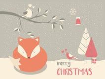 逗人喜爱的圣诞节困小狐狸围拢与花卉装饰 免版税图库摄影