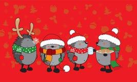 逗人喜爱的圣诞节猬 免版税图库摄影