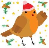 逗人喜爱的圣诞节罗宾字符 库存例证