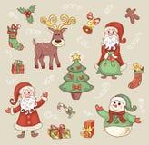 逗人喜爱的圣诞节集合。 免版税库存图片