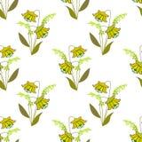 逗人喜爱的在白色的花无缝的样式纹理 库存图片