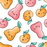 逗人喜爱的在白色背景的动画片果子无缝的样式 在乱画样式的健康食品无缝的样式 Kawaii梨 皇族释放例证