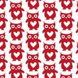 逗人喜爱的在白色背景的猫头鹰红色剪影无缝的样式 库存图片