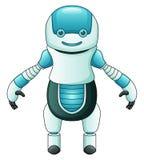 逗人喜爱的在白色背景隔绝的动画片蓝色机器人 免版税图库摄影