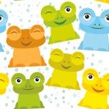 逗人喜爱的在白色背景,无缝的样式的动画片滑稽的青蛙集合黄色青绿的桔子 向量 图库摄影
