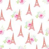逗人喜爱的埃佛尔铁塔花卉无缝的传染媒介样式 免版税库存图片