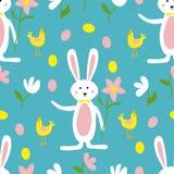 逗人喜爱的复活节兔、花和鸡无缝的样式印刷品背景 向量例证