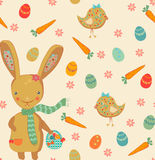 逗人喜爱的复活节兔子无缝的样式 图库摄影